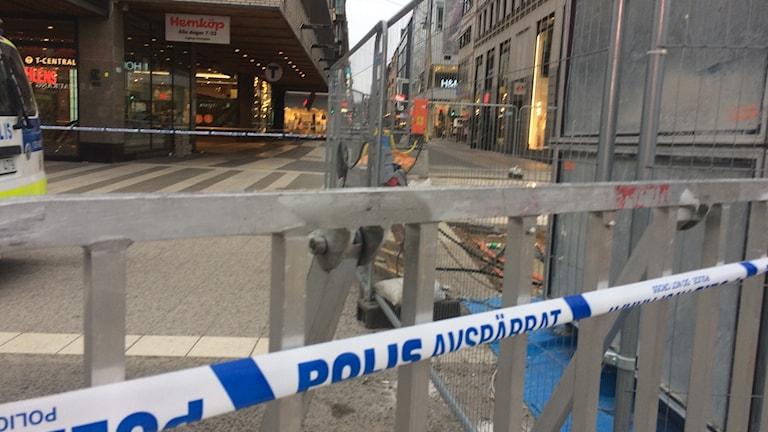 Arkivbild: Polisavspärrning på Drottninggatan.