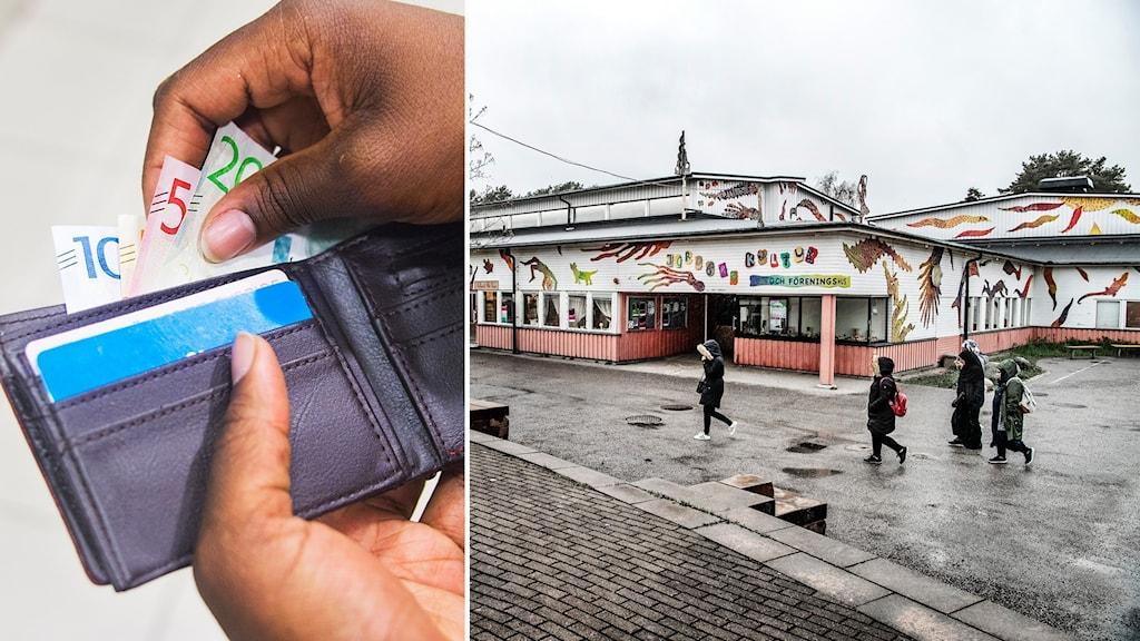 Hand som tar upp pengar ur plånbok. Bild med människor som går över torget i Jordbro.