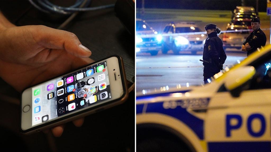 Till vänster en hand som håller i en mobil, till höger en polisinsats.