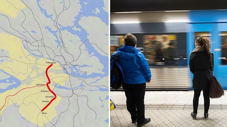 Karta över nya tunnelbanan Älvsjö