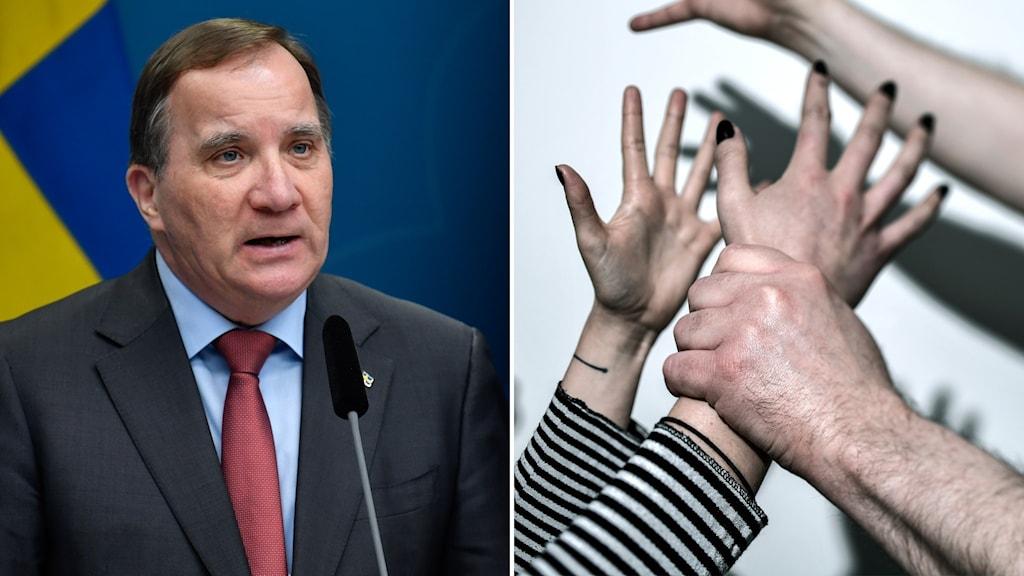 Stefan Löfven och bild på två par händer som bråkar.