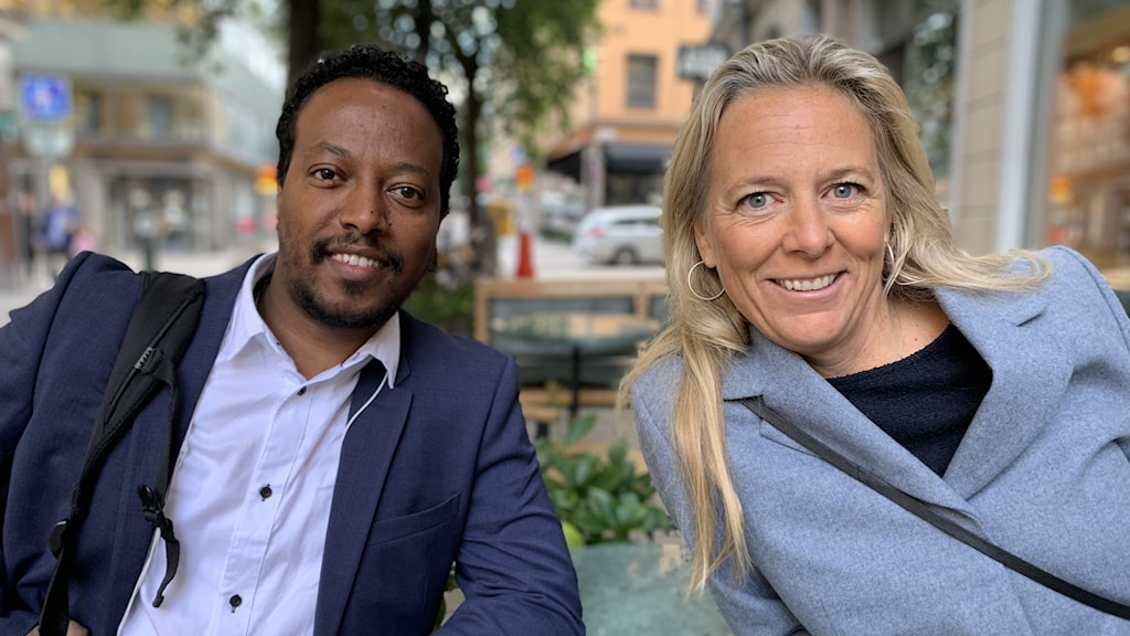 Ingenjören Daniel från Eritrea och Alexandra Ridderstad, verksamhetschef för Jobbsprånget.