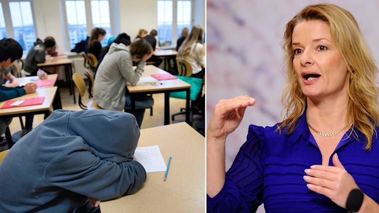 En elev i ett klassrum som ligger med huvdet begravt i armarna på ett bord. En annan bild visar Lotta Edholm som pratar.