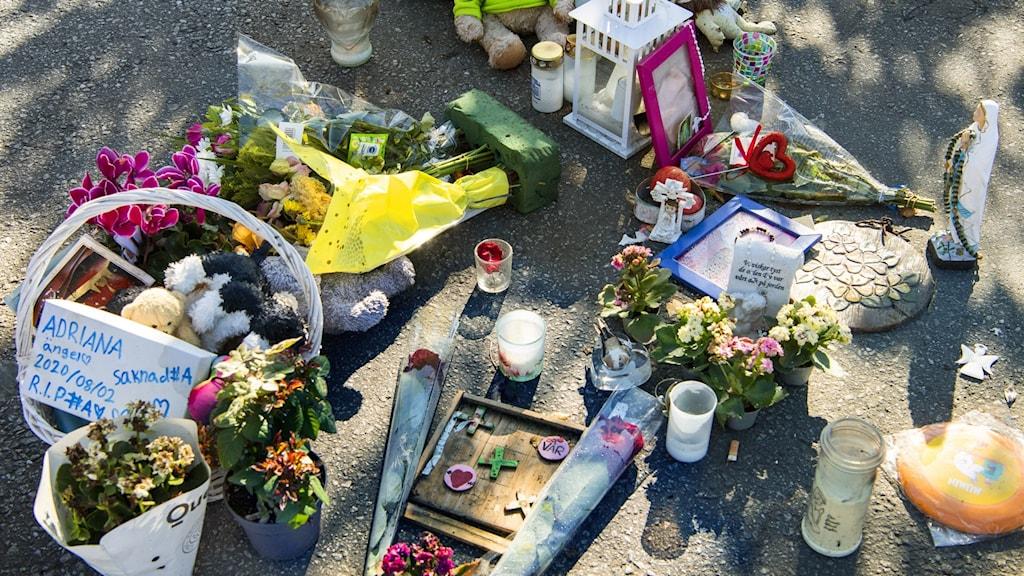 Blommor och nallar vid platsen där en 12-åring sköts till döds i Botkyrka, tidigare i sommar