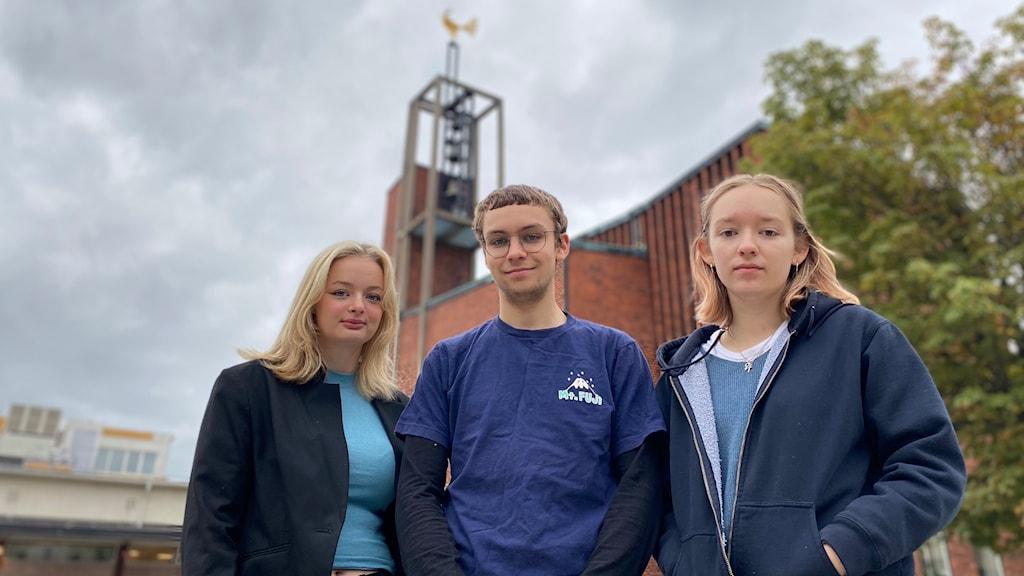 Förstagångsväljarna Mira Kanold, Isak Lund och Emma Olsson Levin.