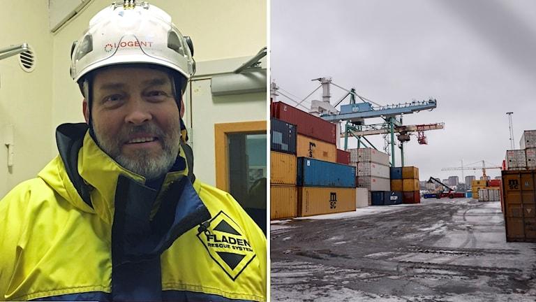 Peter Ströbaek och bild på Frihamnen, Peter Ströbaek, ordförande för Hamnarbetarförbundet avd 1 Stockholm