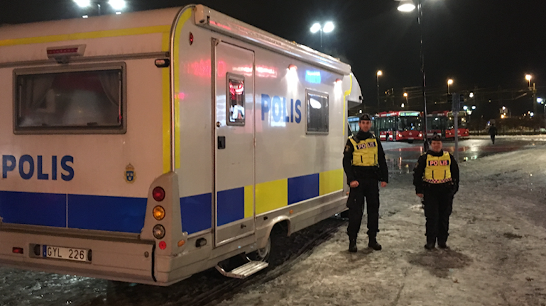 Mobilt poliskontor i Märsta.