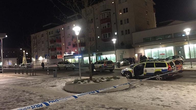 Platsen för skottlossning i Rinkeby.