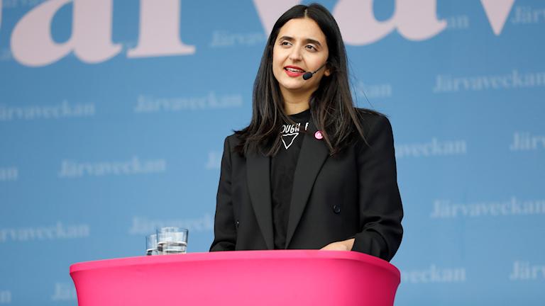 Farida al-Abani, partiledare för FI, på plats under Järvaveckan 2019.