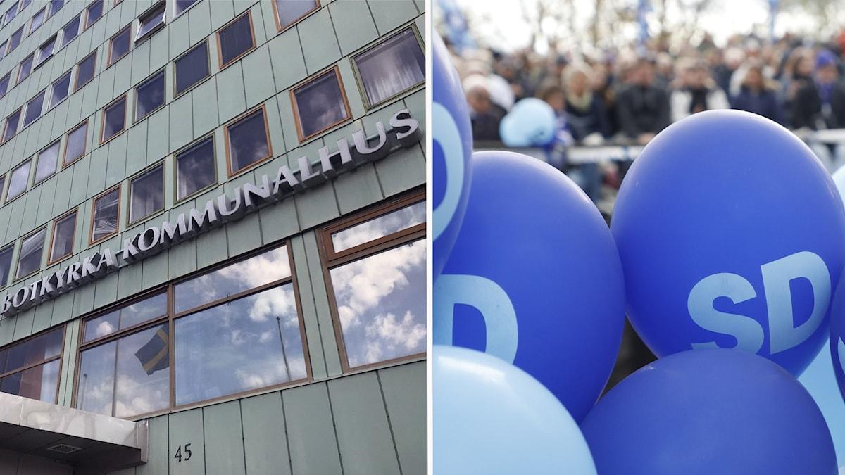 Botkyrka kommunhus och ballonger.