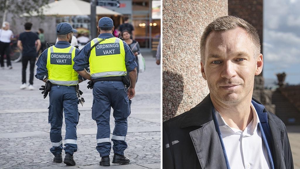 Ordningsvakter och trygghetsborgarrådet Erik Slottner (KD)