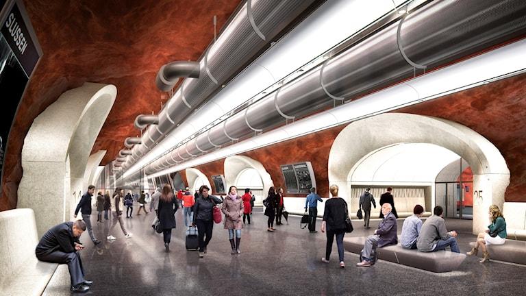 Bilden visar hur bussterminalen är tänkt att se ut inifrån.