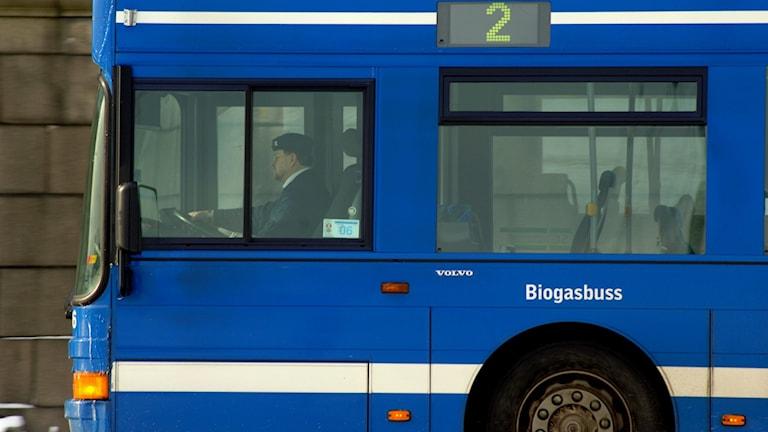 Biogasbuss i SL-trafik.
