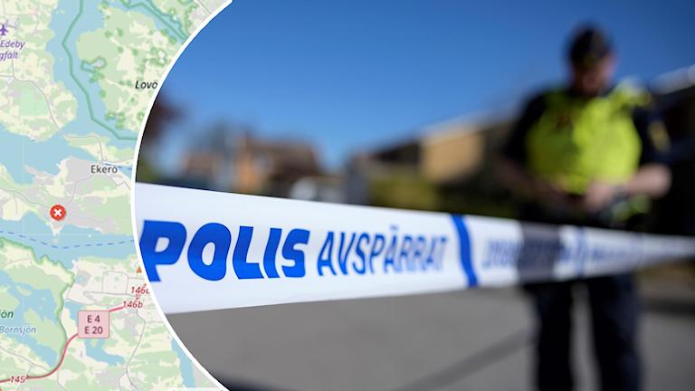 Karta över Ekerö och polis.