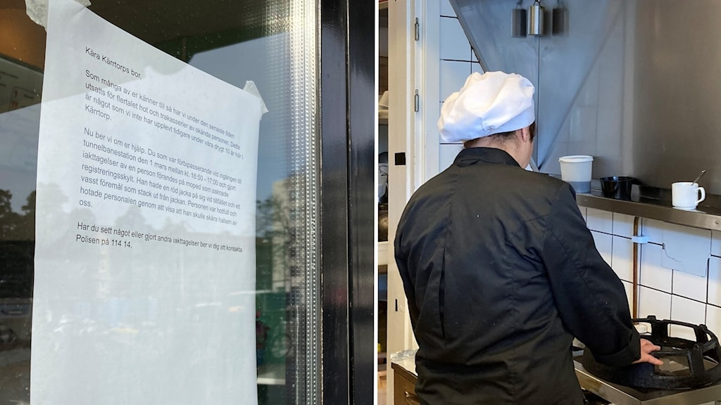 Kvinna med kockmössa står i kök och En lapp där det står att man ska höra av sig till polisen om man sett något