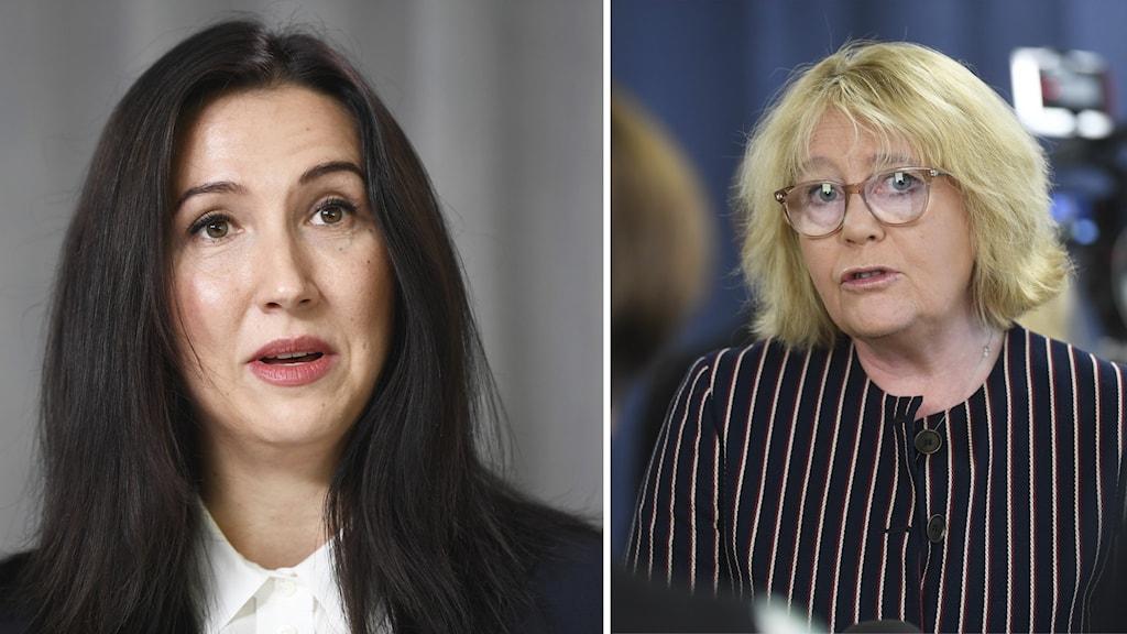 Aida Hadzialic (S) och Irene Svenonius (M).