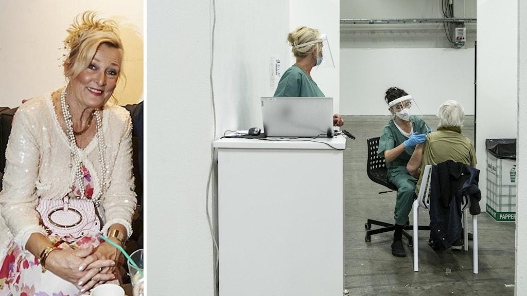 Splittbild, Ing-Marie Lund till vänster, till höger en bild från ett vacinbås där en vårdpersonal lägger spruta på en äldre.