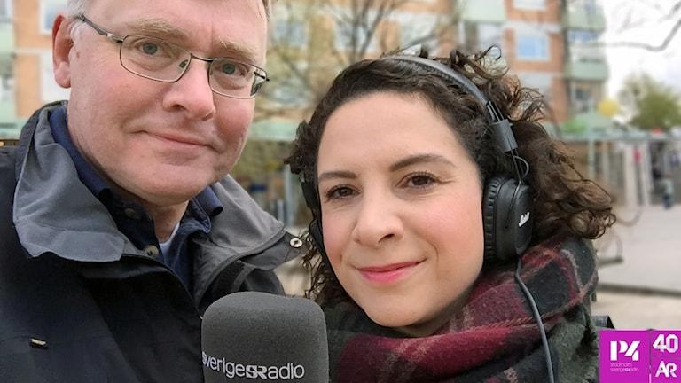Mikael Olergård som jobbar på Civilförsvarsförbundet i Haninge med reporter Christy Chamy.