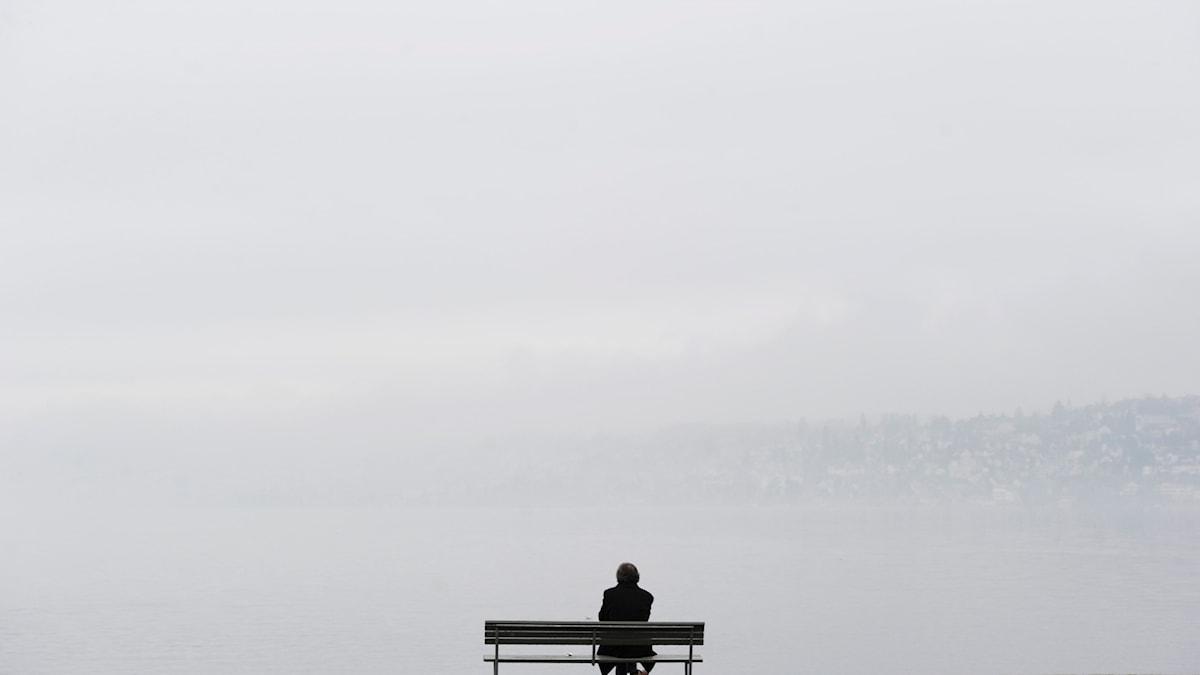 En man sitter ensam på en bänk och blickar ut över en sjö.