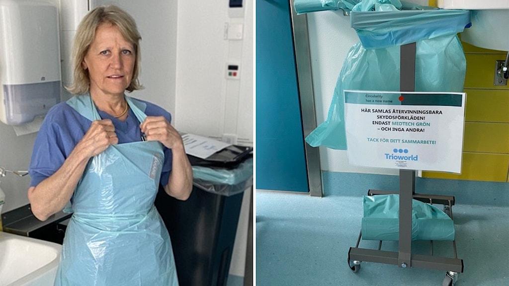 Nu återvinner Danderyds sjukhus sina använda plastförkläden, efter en idé av intensivvårdsläkaren Johanna Albert
