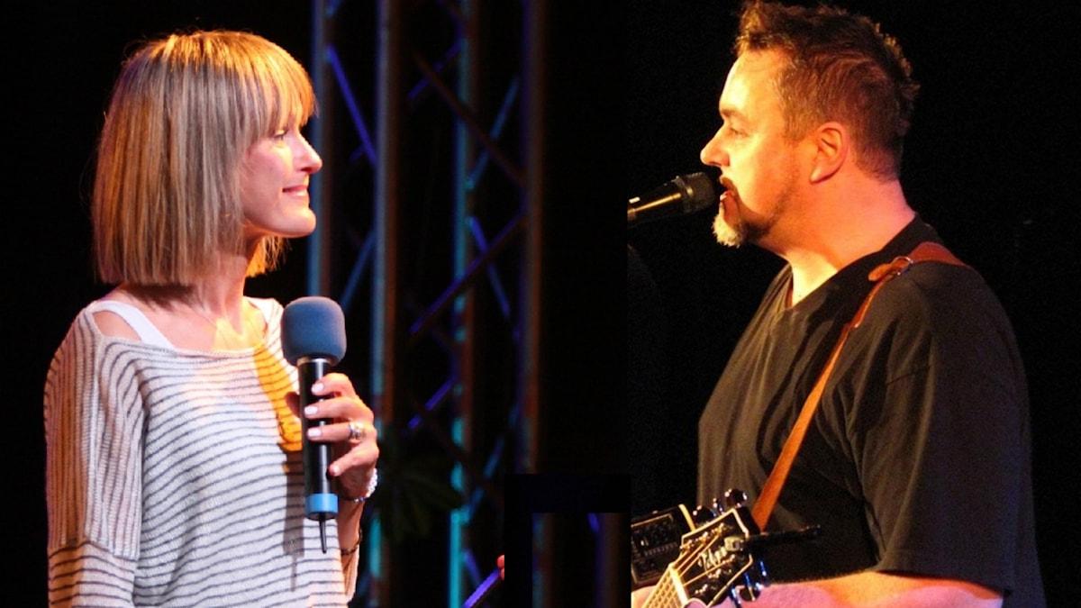 CajsaStina Åkerström och Jack Vreeswijk på Musikplatsen. Montage.