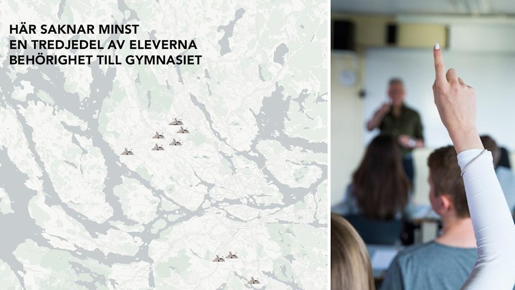 Skolor på karta och elev.