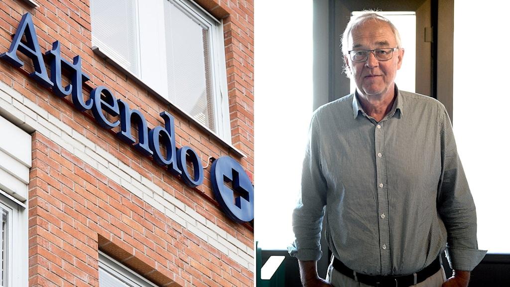 Attendo-skylt och Nils Funcke.