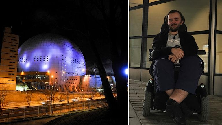 Sportfanet Anton Boström är en av de som drabbas när antalet platser för rullstolsburna begränsas.