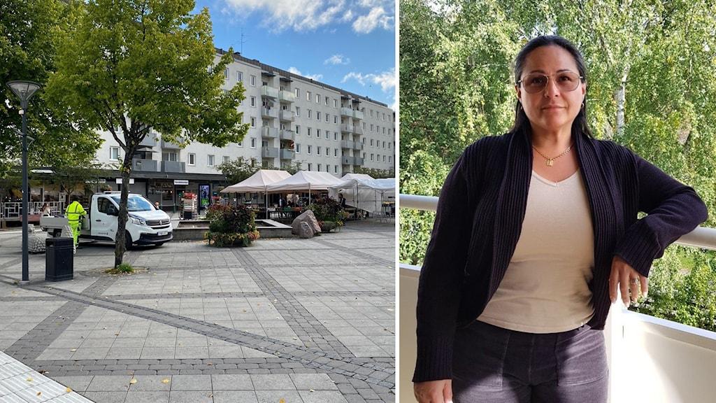 Jakobsbergs centrum och Mariana på en balkong.