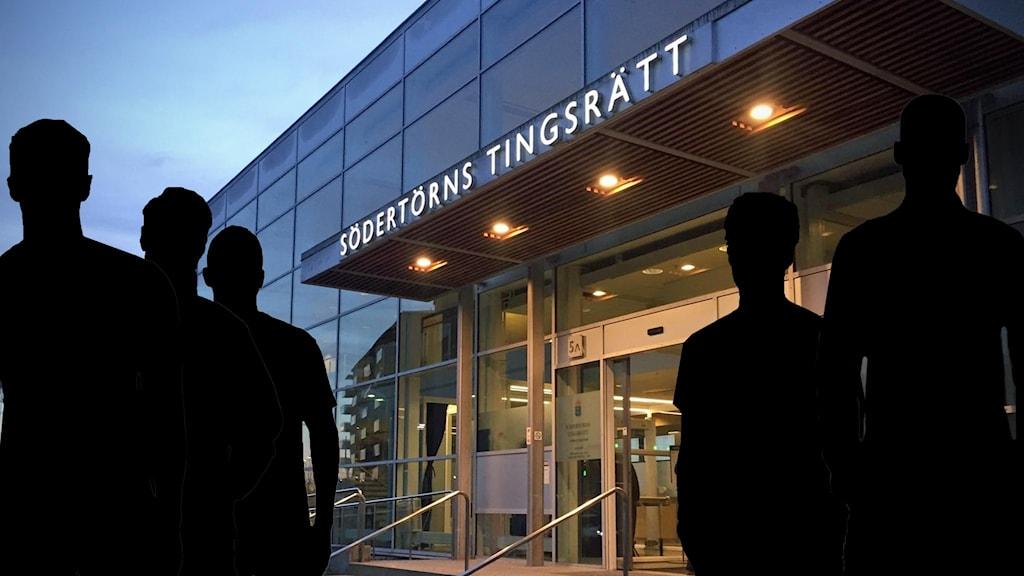 Silhuetter vid Södertörns tingsrätt.