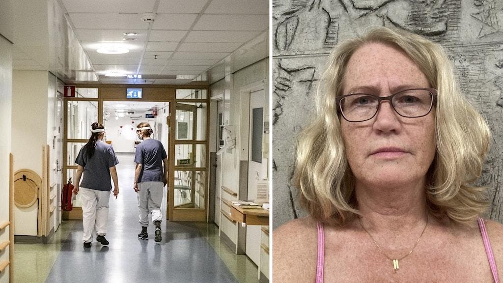 En tvådelad bild där två vårdanställda går i en korridor på sjukhuset. Och bilden till höger är på Lotta Dickman från Vårdförbundet.