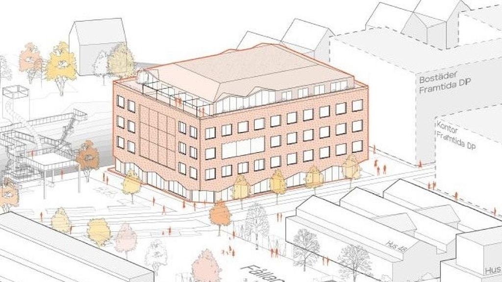 Arkitektillustration av skolan