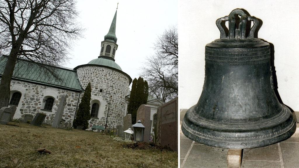 Till vänster, Bromma kyrka. Till höger, den stulna klockan.