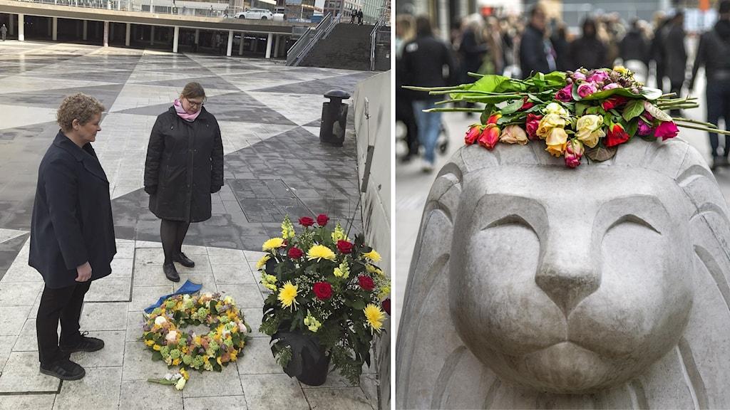 Två bilder: Först två politiker på Sergels torg och andra bilden visar blommor på ett stenlejon på Drottninggatan,