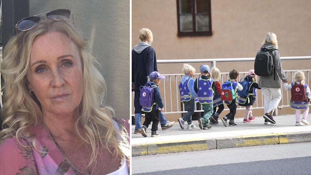 Delad bild, på ena bilden förskolebarn som går på en trottoar. På den andra bilden en kvinna i ljust hår med solglasögon på huvudet.