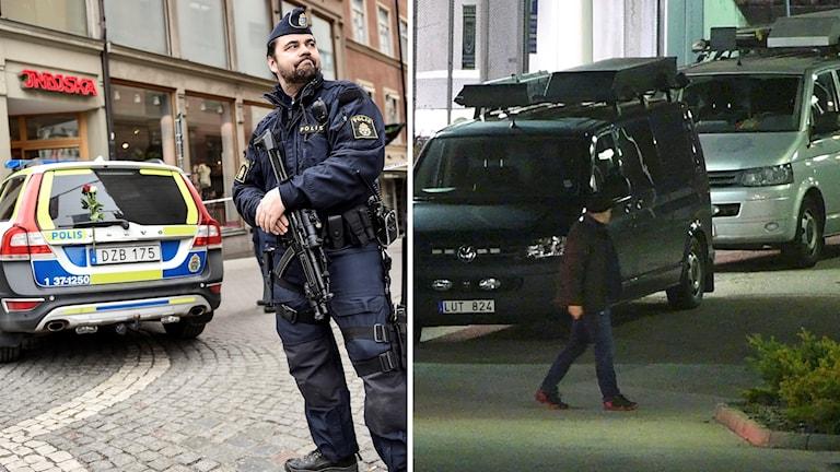 Poliser som jobbar på gatan och med gripande efter attentat på Drottninggatan.