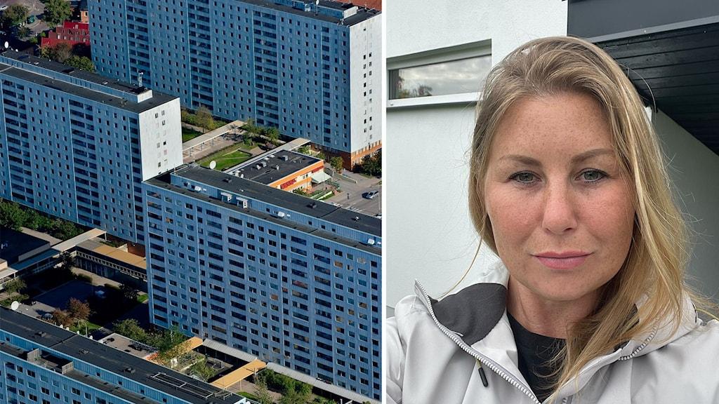 Bild från luften på bostadshusen i Blåkulla i Solna. Bredvid en bild på Lisa.