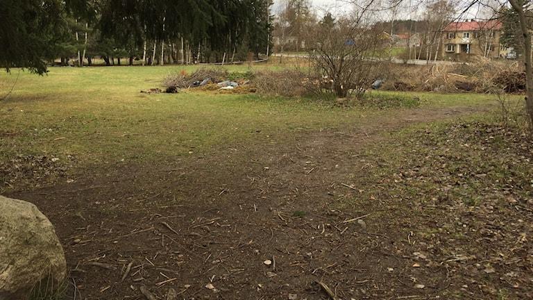 Den så kallade Ödetomten där Stockholms stad vill bygga modulbostäder för nyanlända i Sundby, Spånga.