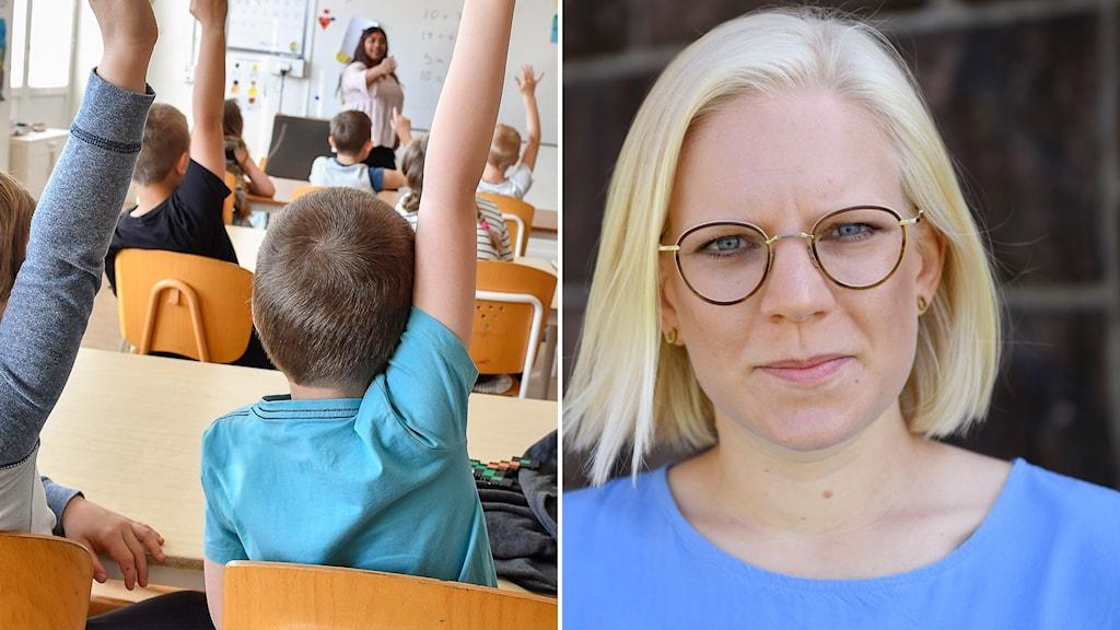 Tvådelad bild med barn som räcker upp händerna i klassrum och Karin Ernlund.