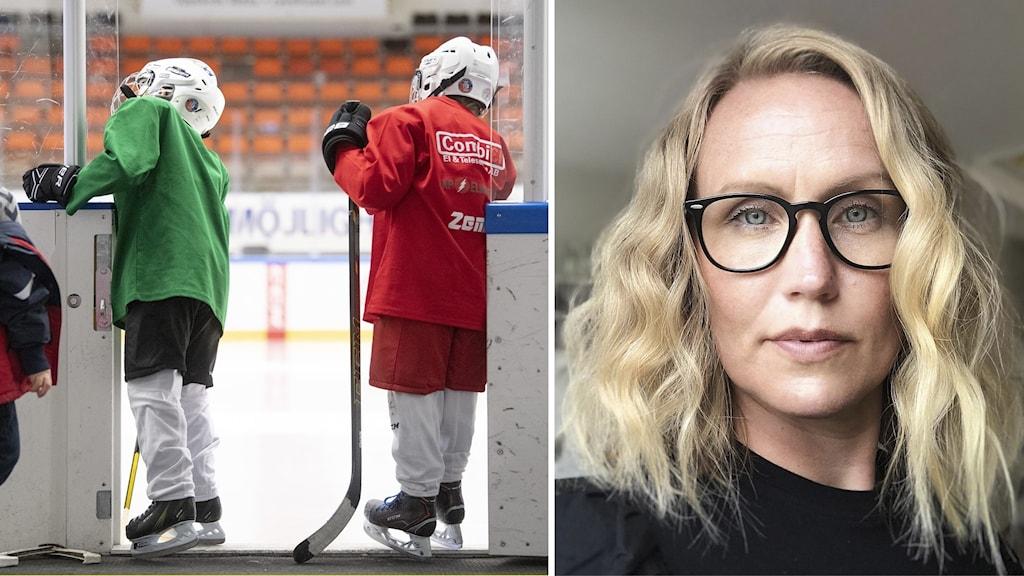 Till vänster en bild på två barn som tittar in i en ishockeyhall. Till höger en porträttbild på en blond kvinna med glasögon.