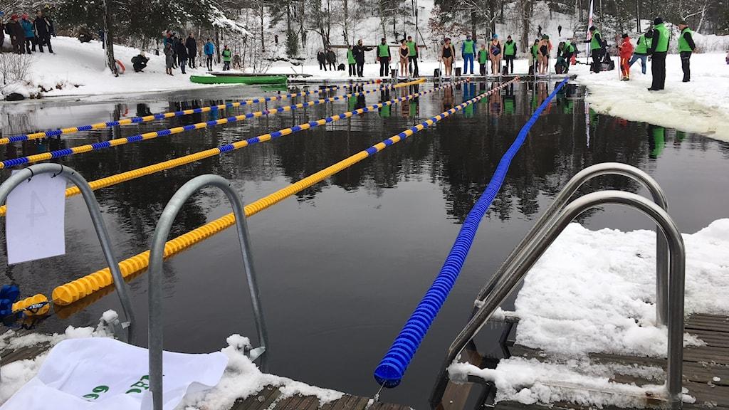 Vintersimtävling i Hellasgården precis innan start.