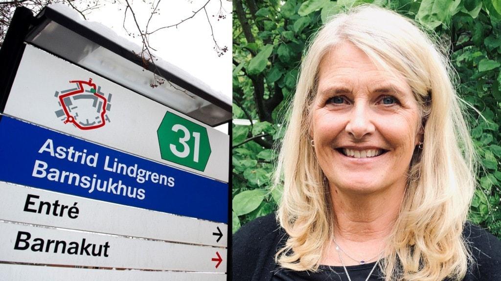 Bild på Astrid Lindgrens Barnsjukhus och även bild på Karin Palblad, sektionschef på barnreumatologen.