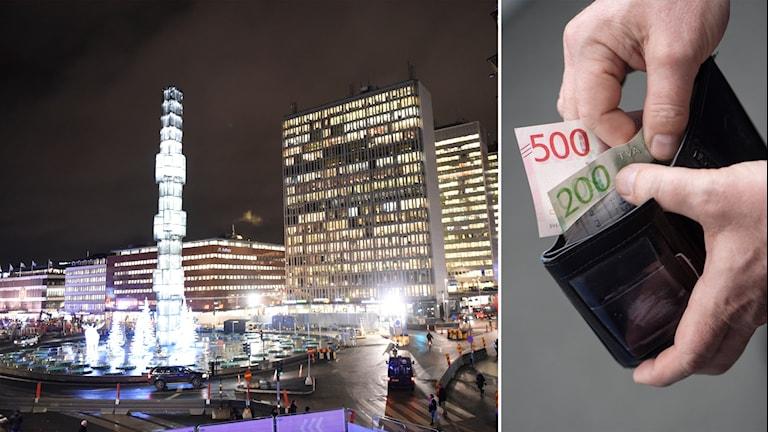 Stockholmsvy samt plånbok med sedlar.