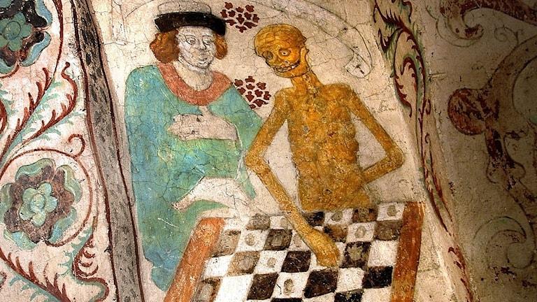 """""""Döden spelar schack"""" av Albertus Pictor."""