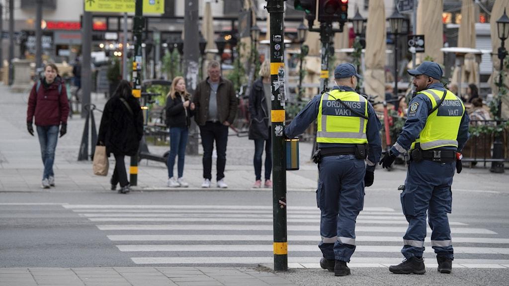 Ordningsvakter väntar på grönt ljus vid ett övergångsställe vid Medborgarplatsen.