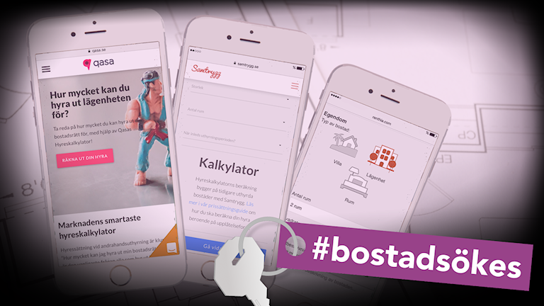 Tre mobiler visar exempel på hur sajter erbjuder beräkningsmodeller för hyressättning.