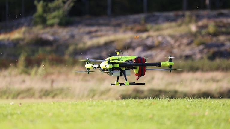 Drönare landar på gräsmatta.