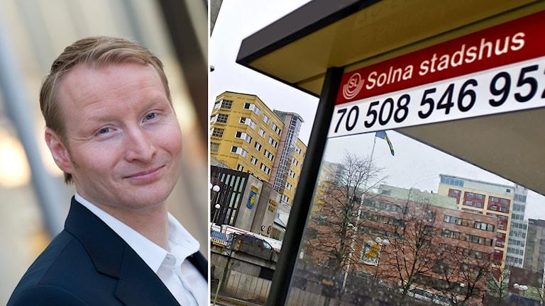 """En bild på Pehr Granfalk som tittar in i kameran och småler, en annan bild visar en busskur som det står """"Solna stadshus"""" på."""