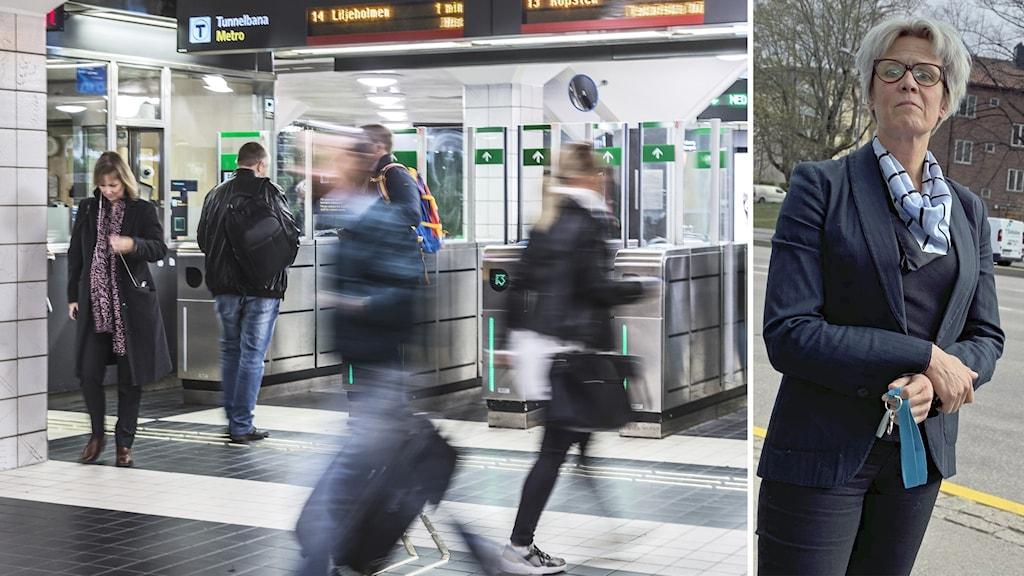Resenärer i tunnelbanan och en kvinna.