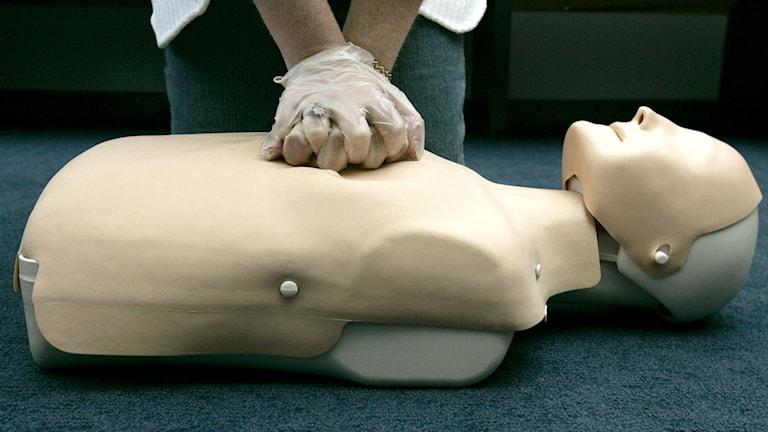 Person övar hjärtkompressioner på en docka (arkivbild).